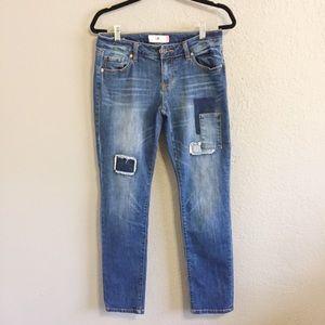 Cabi Patchwork Slim Boyfriend Jeans Size 4